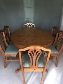 Ducal pine dining room table & chairs
