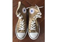 Gold leather high top CONVERSE trainers