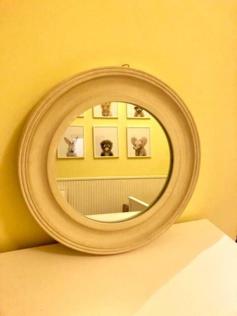 Rustic Round Wall Mirror Cream Off White Wood Frame In East End Glasgow Gumtree