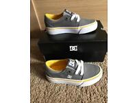 Brand new in box boys DC trainers size Infant UK 10 in grey and yellow