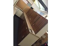 Vetro Walnut Gloss Fully Assembled Complete Kitchen - 9 Units & 1 Worktop
