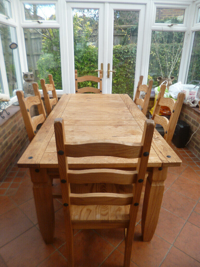 RIO GRANDE BRAZILIAN SOLID PINE DINING TABLE WITH 6 CHAIRS | in Epsom,  Surrey | Gumtree