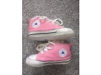 Pink baby converse in box. Size 3 - approx 6 - 9 months