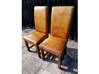 Pair of Rustic Real Leather & Oak Titan/ Dining Chairs (4 Pairs available)