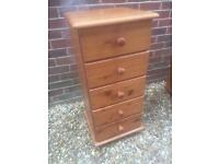 Lovely solid pine slim chest of drawers