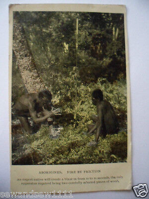 ANTIQUE 1900s VINTAGE OLD POSTCARD ABORIGINAL FIRE BY FRICTION PHOTO POST CARD