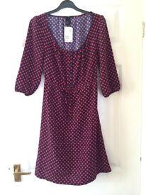 H&M Women's Navy & Orange Polka Dot Print Dress. Size 6. NEW WITH TAGS.