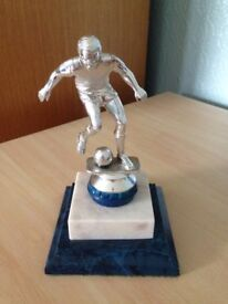 Silver/Blue Football Trophy on Marble/Wood Base