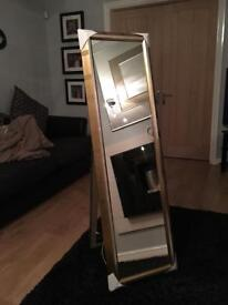 free standing gold cheval style mirror