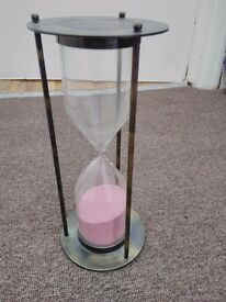 brass sandtimer with pink sand 7 inches