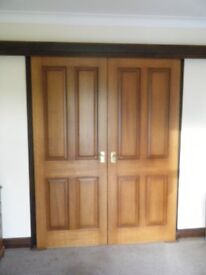 Mahogany doors, french polished, with sliding mechanism