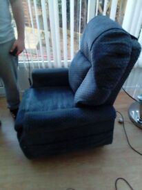 Blue rise and recline electric chair