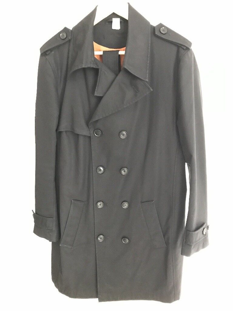 Drykorn Mens trench coat, size 48, black
