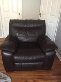 Brown leather electric recliner and sofa