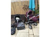 Silvercross surf pram/stroller with venturer car seat & isofix base
