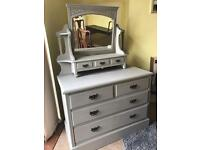 Refurbished Antique Solid Mahogany Dressing Table/Chest of Drawers (Can Deliver)