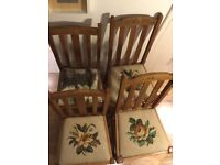 4 coordinating Barley Twist dining Chairs project flowers seat Vintage Country boho chic