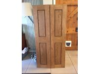 7 sets of unused oak wardrobe / cupboard doors (2 doors per set)