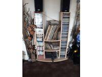Wooden Music Stand for Vinyl,CD,Cassette,DVDs.