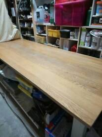 Oak top 8' long dining table with 8 matching chairs