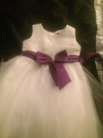 Flower girl or Xmas party dresses 7-8 white purple