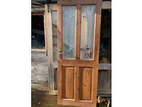 Wooden oak door with glass