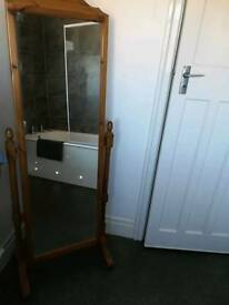 Large free standing solid pine mirror