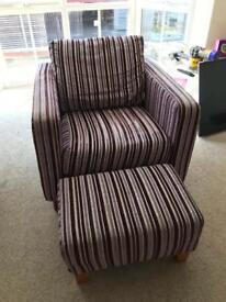 Purple arm chair & footstool