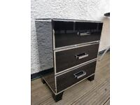 Black mirrored bedside drawers