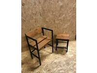 Reclaimed wood furniture paired with metal . Handcrafted.