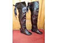 Over Knee Thigh High Patent Boots Size 4