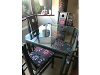 Dining table, 4 chairs, mirror, matching rug & curtains