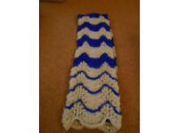 New Hand Knitted Beige and Blue Scarf