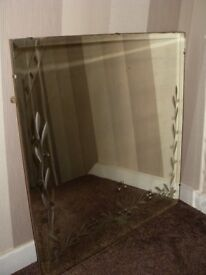 HEAVY DUTY MIRROR WITH FLORAL ETCHINGS ON SIDES AND BOTTOM