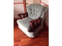 3 piece suite (two chairs and couch) solid wood arms. Vintage and very rare