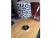 Silver lamp with black and white lamp shade