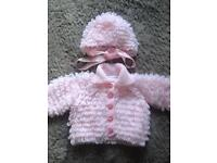 Baby girls knitted bonnet and Cardigan