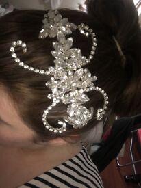 One of a kind, Handmade Bridal Headpiece with Swarovski Crystals.