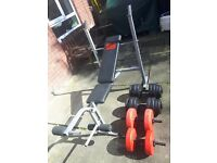 Pro power weight bench with dumbells 50kg weights. Incline decline flat. Gym workout equipment.