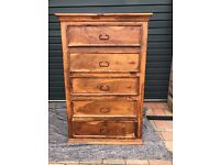 5 Drawer Wooden Chest of Drawers - Great Storage