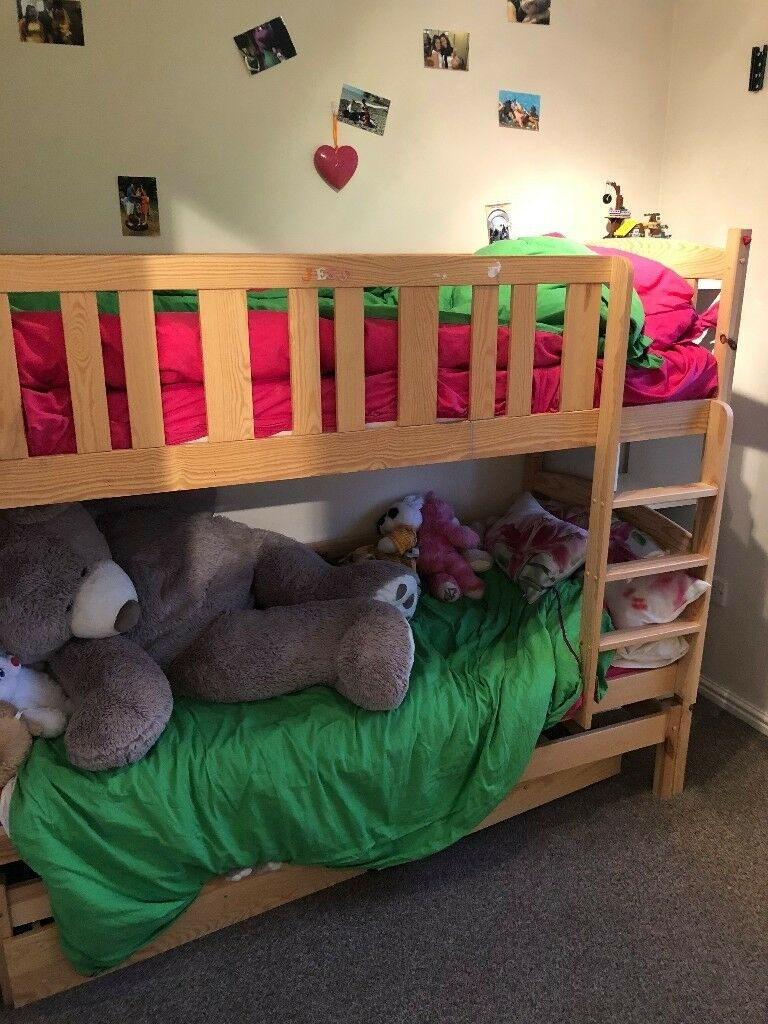 Wooden Bunk Bed With Sliding Trundle Beds And Under Storage Drawers