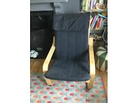 Ikea Poang chair. Black fabric