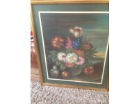 LARGE SIGNED PAINTING PICTURE OF A VASE OF FLOWERS .