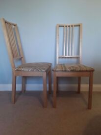 Light wood upholstered dining chairs