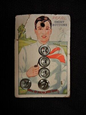 1940s Men's Shirts, Sweaters, Vests VINTAGE 1940's 50's BUTTONS SHIRT CARDBOARD PACKAGE PICTURING MAN SIZE OF BASEBA $6.99 AT vintagedancer.com