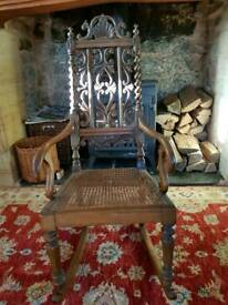 CARVED CHILDS ROCKING CHAIR