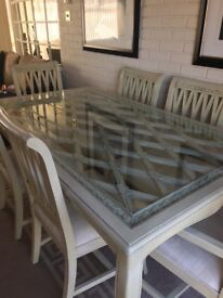 Cream wooden and glass dining table and 6 chairs