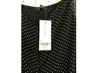 Brand new dress was £35 size 20 long black polka dot dress