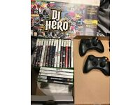 Xbox 360, 250GB, 2 controllers and 20 games