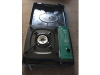 Gas camping stove, two gas bottles + 2 role mats all Brand New